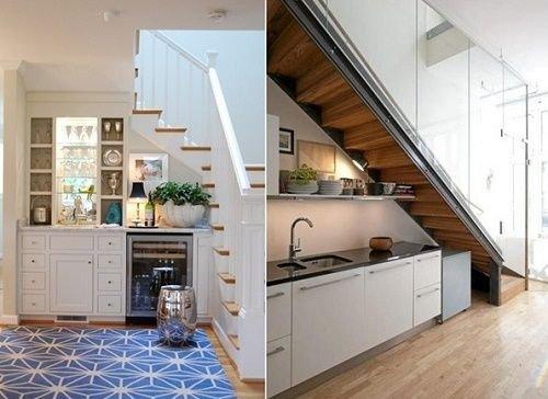Những mẫu tủ gầm cầu thang đẹp để đồ dùng nhà bếp