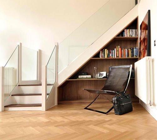Tủ gỗ gầm cầu thang đẹp để sách